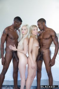 Blacked Elsa Jean & Zoey Monroe in Blonde Babes Enjoy BBC Foursome with Isiah Maxwell & Jason Brown 1
