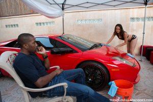 Teens Love Black Cocks Jade Nile in Washing Cars and Taking Dicks 5