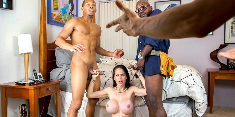 Blacks on Moms Lonely Housewife Gets Stuffed With 2 Monster Cocks